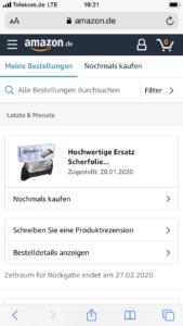 Schritt 1: Amazon Bestellung in der Mobile Version
