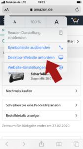 Schritt 2: Amazon Bestellung in der Desktop Version wählen